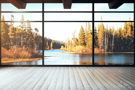 Loft interior with panoramic autumn landscape view. Beauty concept. 3D Rendering