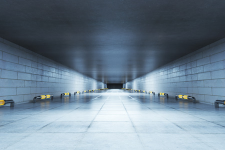 Abstract concrete tunnel interior. 3D Rendering