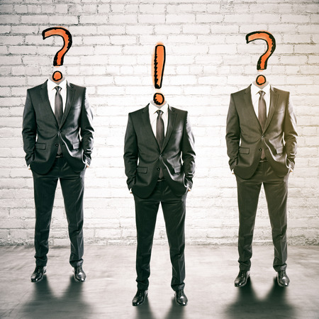 three headed: Three question and exclamation mark headed businessmen in brick inteiror. FAQ concept. 3D Rendering