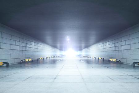 Abstract concrete corridor interior. 3D Rendering