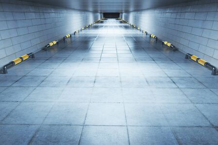 Abstract concrete hall interior. 3D Rendering