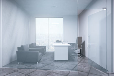 city view: Minimalistic office interior with city view. Business concept. 3D Rendering