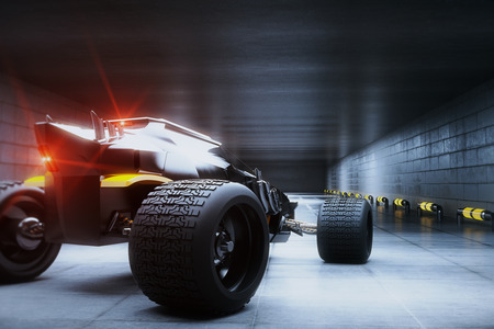 Rear view of sports car with red lights in concrete tunnel. 3D Rendering Stock Photo
