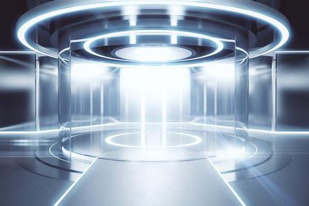 Glühende Silber-Teleportationsstation. Wissenschaftskonzept 3D-Rendering Standard-Bild - 74349409