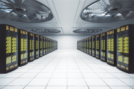 Server room in data center. Network concept. 3D Rendering Stock Photo