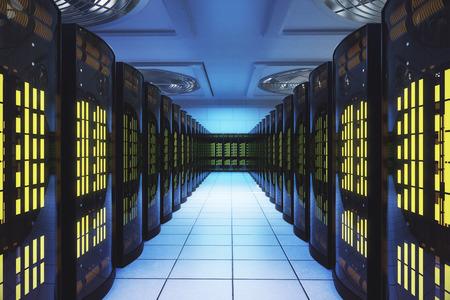データ センターのサーバー ルーム。ネットワーク ・通信の概念。3 D レンダリング