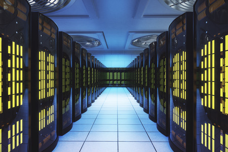 데이터 센터의 서버 실. 네트워크 및 통신 개념입니다. 3D 렌더링