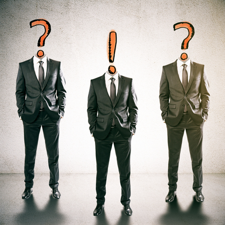 three headed: Three question and exclamation mark headed businessmen in concrete inteiror. Leadership concept. 3D Rendering