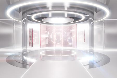 비즈니스 패널과 추상 빛나는 조명 역. 미래의 개념. 3D 렌더링 스톡 콘텐츠