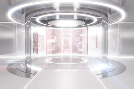 Abstract glowing light teleportation station with business panels. Future concept. 3D Rendering