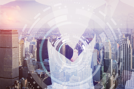 Close up of handshake on creative city background with digital pattern. Teamwork concept. Double exposure Stock Photo