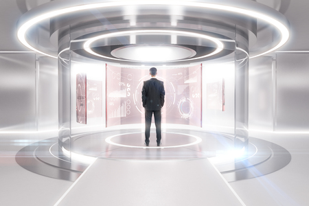 Thoughtful businessman in front of glowing light teleportation station with financial panels. Future concept. 3D Rendering