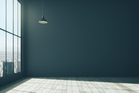 Clean interior with blank dark wall, city view, lamp and daylight. Mock up, 3D Rendering
