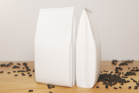 Close up of two empty white coffee package and beans placed on wooden desktop. Retail concept. Mock up, 3D Rendering
