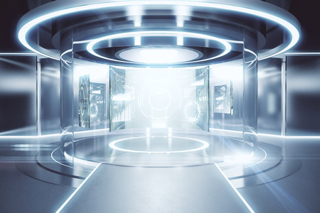Abstract glowing silver teleportation station with business panels. Future concept. 3D Rendering