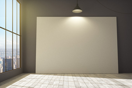 Front view of blank white billboard in clean interior with city view, lamp and daylight. Mock up, 3D Rendering