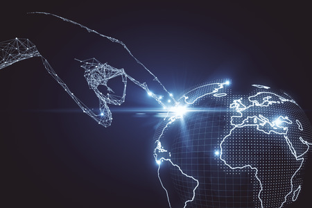 earth map: Abstract polygonal hand touching digital globe. Global business concept. 3D Rendering Stock Photo