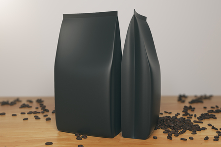 Close up of two empty black coffee package and beans placed on wooden desktop. Retail concept. Mock up, 3D Rendering