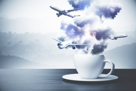 Close up of abstract coffee cup with clouds and airplanes. Travel concept. Landscape background. 3D Rendering Stock Photo