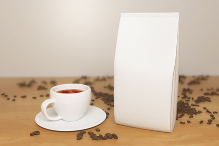Close up of white coffee package, cup and beans placed on wooden desktop. Retail concept. Mock up, 3D Rendering