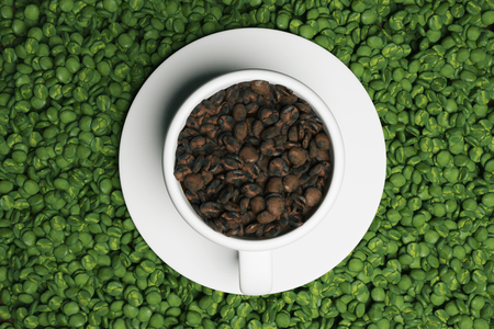 hot couple: Top view of ceramic cup with saucer, filled with brown coffee beans and placed on green ones. Coffee lovers concept. 3D Rendering Stock Photo
