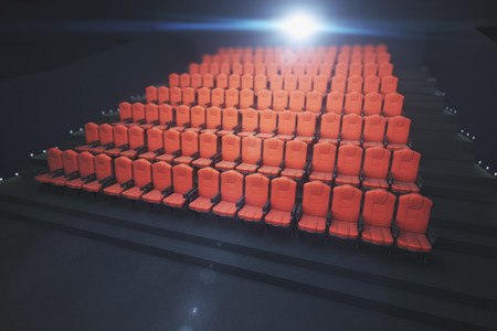 Red cinema seats on dark background with projector. Movie concept. 3D Rendering Imagens