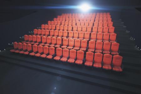 Rode bioscoopstoelen op donkere achtergrond met projector. Film concept. 3D-weergave