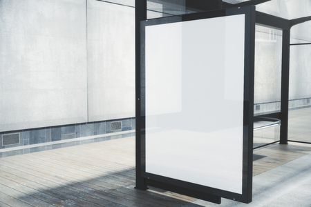 Modern bus stop with blank white poster. Close up, Mock up, 3D Rendering Banco de Imagens