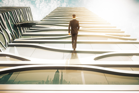 Abstract image of businessperson walking up glass building on sky background. 3D Rendering