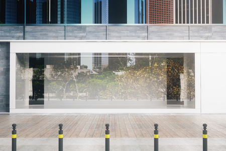 Empty glass storefront in daylight. Advertisement concept. Mock up, 3D Rendering