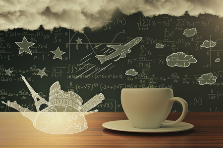 Close up of coffee cup with abstract stravel sketch, airplane, mathematical formulas in the background and clouds. Creativity concept 3D Rendering