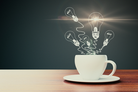 Close up of coffee cup with abstract light bulb drawings. Imagination concept. 3D Rendering