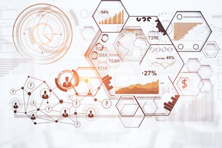 グローブは、グラフや図で抽象的なデジタル画面。国際ビジネス コンセプトです。3 D レンダリング