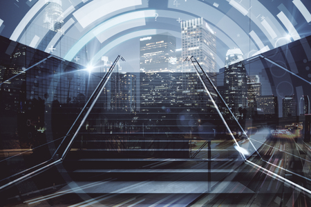 Abstract stairs with circular digital pattern on night city background. Growth concept. Double exposure Stock Photo