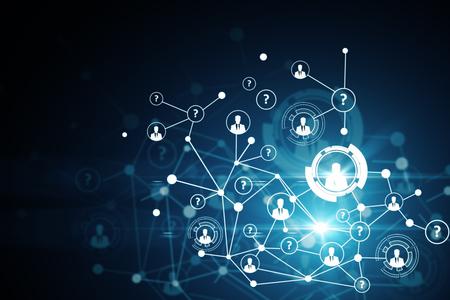 Résumé réseau numérique avec des icônes RH. concept de mise en réseau. rendu 3D