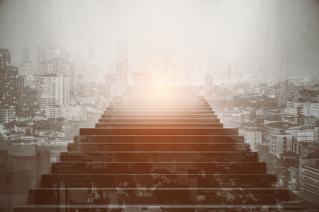 Front view of staircase on abstract bright city background. Success concept. Double exposure Фото со стока