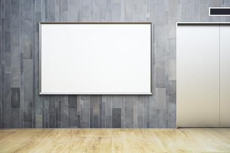 リフトとブランクの看板が壁に掛かっている新しい木製インテリア。モックアップ、3 D レンダリング 写真素材