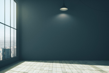 New room with blank dark wall, city view, lamp and daylight. Mock up, 3D Rendering