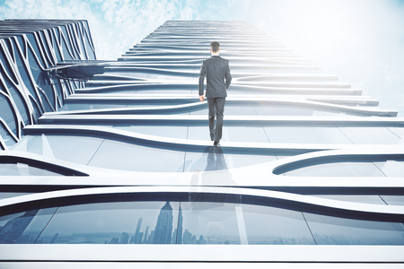 Abstract image of businessman walking up glass building on sky background. 3D Rendering