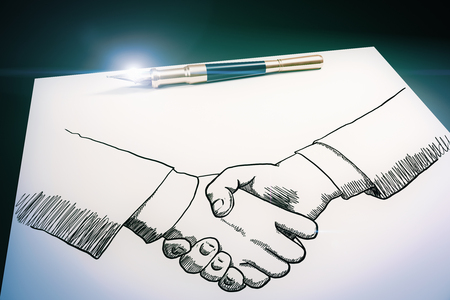 Top view and close up of drawn handshake on paper sheet with pen. Partnership concept. 3D Rendering