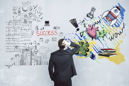 Stressed businessman choosing between successful career and creative art. Choice concept