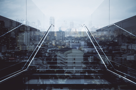 Front view of staircase on abstract city background. Success concept. Double exposure
