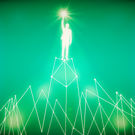 achievement concept: Abstract white man figure with star in hand standing on abstract polygonal moountain. Success concept. Green background. 3D Rendering Stock Photo