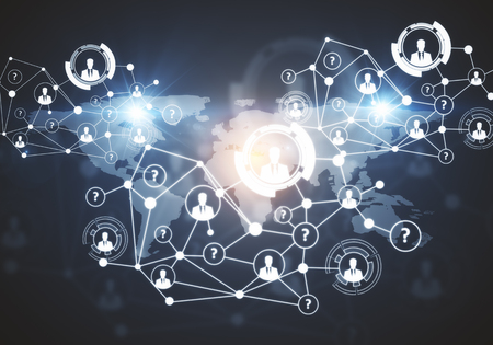 Creative digital connections with HR and other icons on dark background with map. Communication concept. 3D Rendering Stock Photo