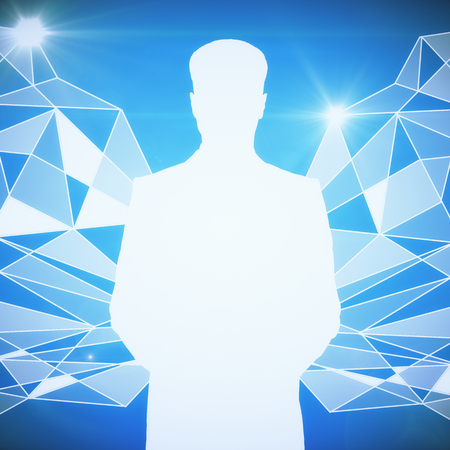 achievement concept: White male silhouette on abstract blue polygonal background. 3D Rendering Stock Photo