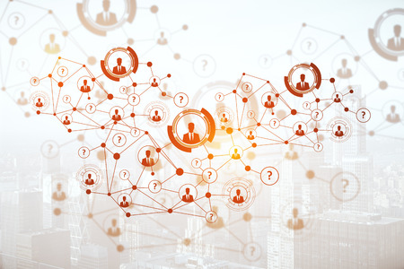 recruit: Creative digital connections with HR and other icons on light city background. Network concept. 3D Rendering