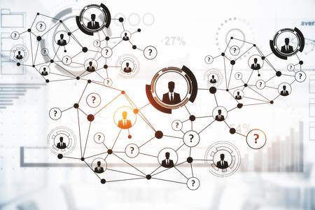 Connessioni digitali creative con HR e altre icone su sfondo chiaro. Concetto di comunicazione Rendering 3D