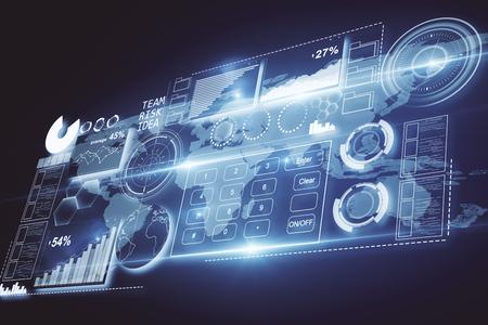 Abstract digitaal paneel met grafieken en knoppen op donkere achtergrond. Business concept. 3D-rendering