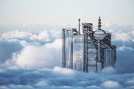 futuristic city: Abstract drawn city in cloudy sky. Urbanization concept