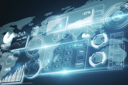 Abstract digitaal bedrijfspaneel met grafieken en knopen op donkere achtergrond. Technologie concept. 3D-weergave